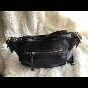 Coach Legacy Black leather shoulder with tassel